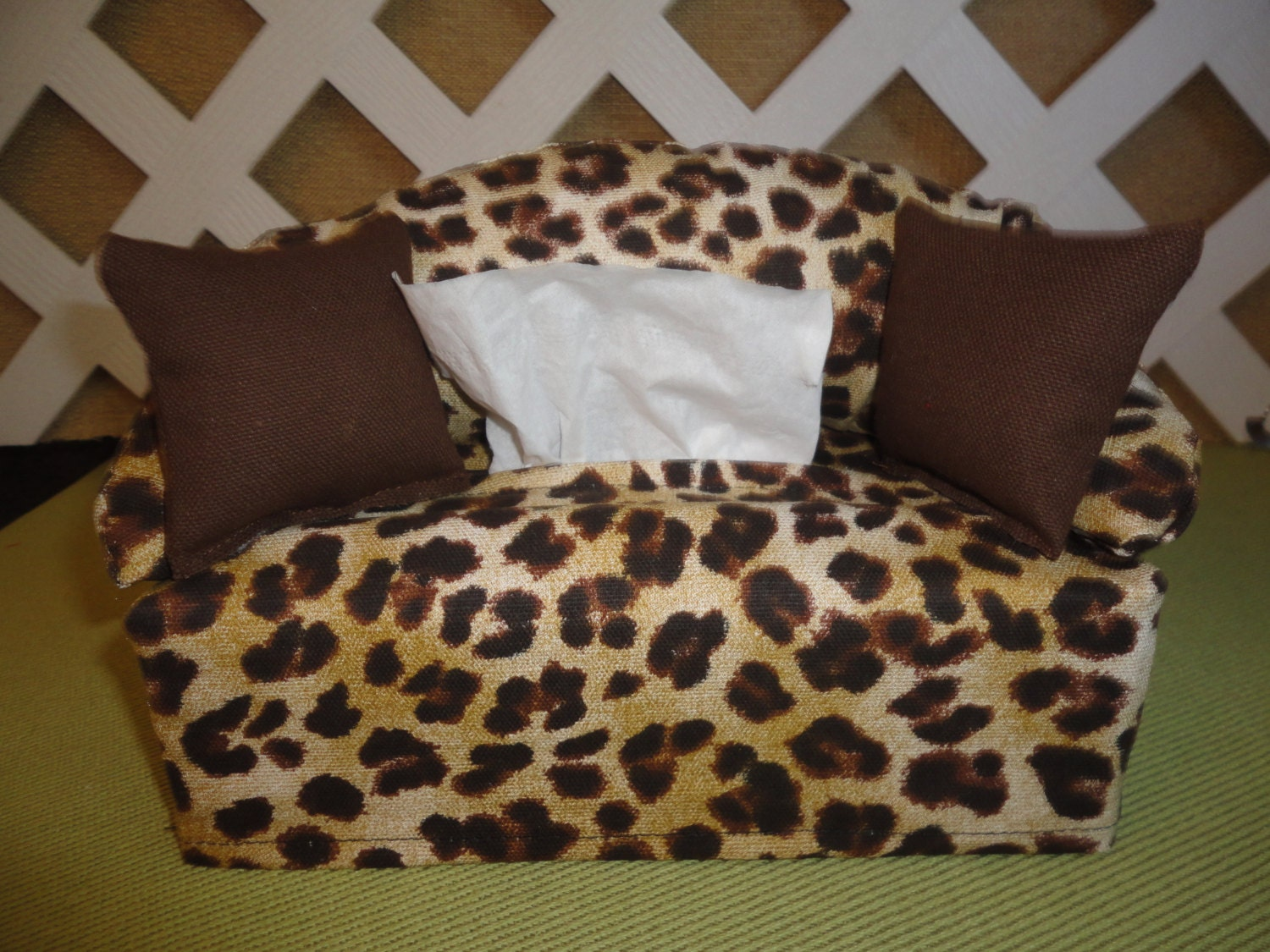 leopard print tissue box cover in sofa shape tan and brown