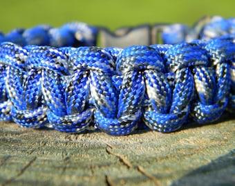 Blue, White, Gray Woven Paracord Survival Bracelet Father Men's Graduation Gift