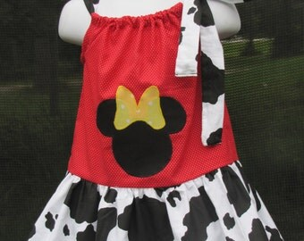 Custom handmade minnie mouse red white polka dot cow story print and yellow white polka dot pillowcase dress 3mos up to 6y
