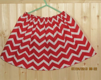 New Handmade custom chevron skirt  red any size