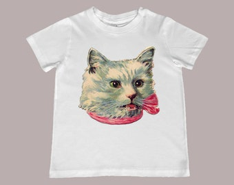 White Vintage Cat with Pink Ribbon illustration Tee - Avaialable in infant, toddler and youth sizes
