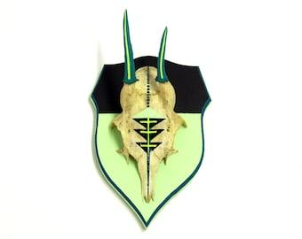 TEAL, MINT & BLACK geometric aztec navajo arrow chevron painted vintage stag deer skull horns antlers - modern taxidermy art decor xmas gift