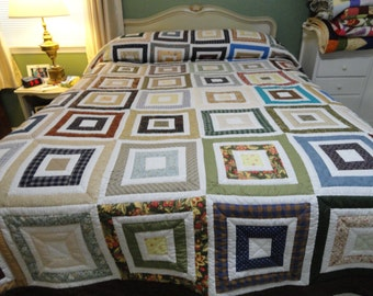 Hand Quilted King Size Square Quilt