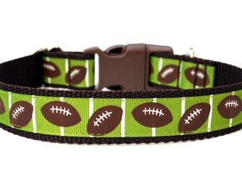 "Football Dog Collar 1"" Sports Dog Collar SIZE MEDIUM"