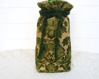 Wine Bag Gift Bag Green Chenille