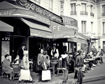 Cafe' de l'Olympia- Paris - Brasserie -Paris  Street Scene - 8x10 Fine Art - Black and White - Photograph -Kitchen Art - Cafe- Bistro-Food-