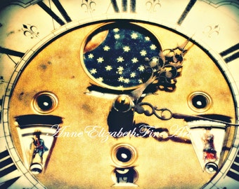 Antique Clock Face-8 x 10 Fine Art Photograph-Clock Photography-Vintage Clock-Clock Hands-Nursery -Romantic-Shabby Chic-Steampunk-European