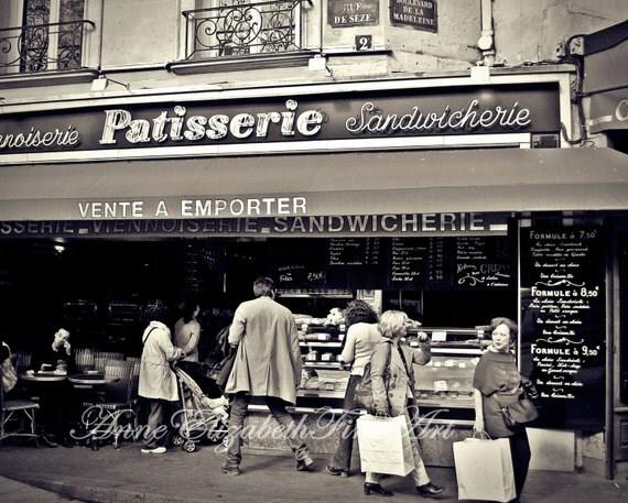 Paris Photograph- Black & White- Food Photography-Paris Menu-Patisserie-Paris Decor-Paris Chalkboard-Cafe-Bistro-French- Chic-Kitchen-Preppy