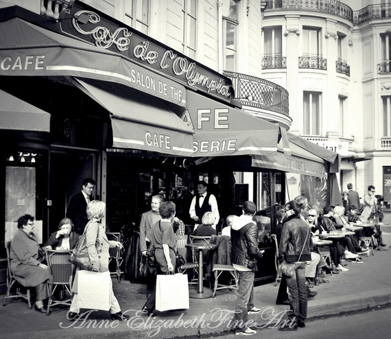 Cafe' de l'Olympia- Paris - Brasserie -Paris  Street Scene - 8x10 Fine Art - Black and White - Photograph -Kitchen Art - Cafe- Bistro-Food-