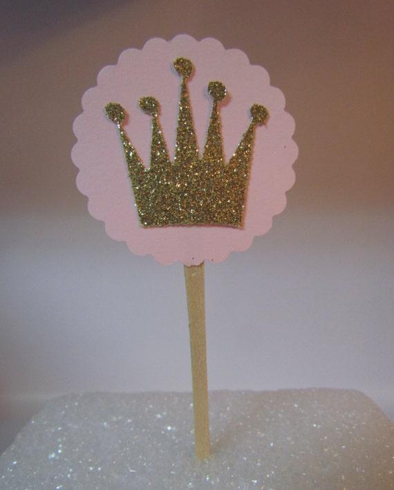 12 Pink Gold Crown Tiara Princess Birthday Party Baby Shower Cupcake    Gold Princess Crown