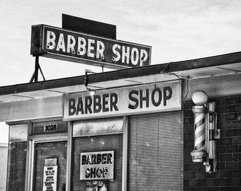 Fort Worth, Texas, TCU, Texas Christian University, Barber Pole, - Fox's Barber Shop Neon Black and White