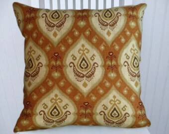 Orange IKAT  Pillow Cover-18x18 or 20x20 or 22x22--Linen Blend Accent Pillow Cover in  Burnt Orange, Cream and Gold