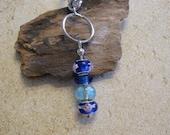 Blue Charm Bead Keychain