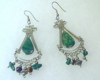 Vintage Tribal Silver Wire and Natural Green Stone Earrings - 1980's