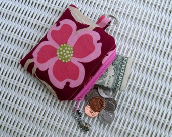 READY-TO-SHIP Flower Change Purse, Maroon Coin Purse