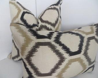 Pillow Cover 20x20 - Ikat Pillows-Brown - Black And Light brown Pillow- Decorative Pillows- Beige Black Pillow -Pillow Cover-