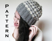 PDF PATTERN - The Alice Beanie - Knitted Slouch Beanie Womens Mens Teens Slouchy Knitting Download Hearts
