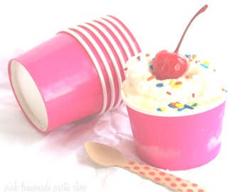 20LiTTLe PiNK  ICe CReaM CUPS with diy printables-4oz-Party Favors-Ice Cream-Showers-Weddings-20ct