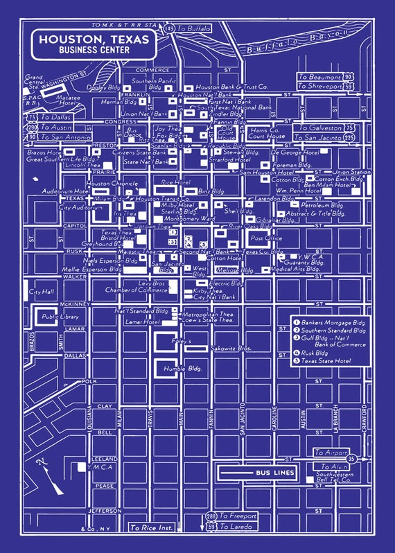1949 vintage map of downtown houston texas blueprint print like this item malvernweather Gallery
