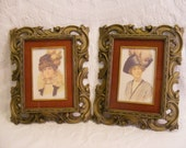 Pair of Florentine Style N'Orleans Plastic Frames, Antique Gold with Red Flocked Matte