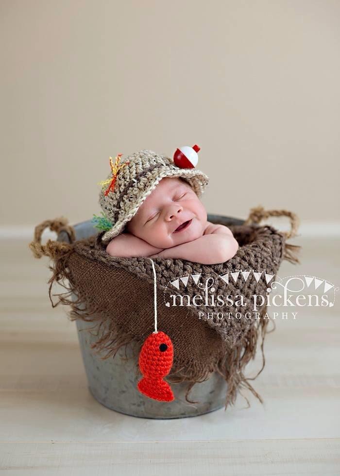 Ready To Ship Baby Fishing Fisherman Crochet Hat Amp Fish In