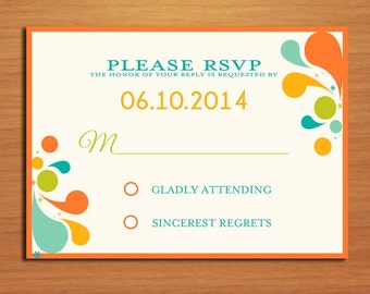 Summer Floral Swirl Wedding RSVP Postcard PRINTABLE / DIY
