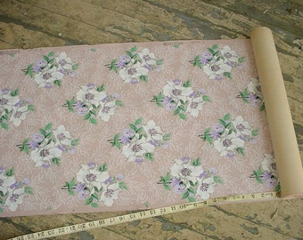 Tropical Wallpaper Vintage 1940s Pink Floral Yardage Available Shabby Cottage Supplies