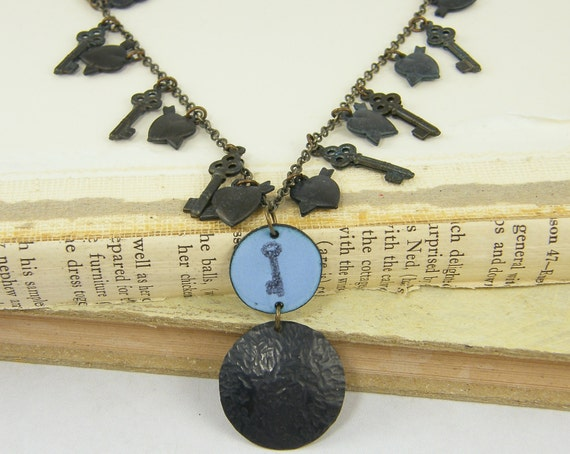 Key Necklace - Blue Brown Heart Enamel Textured Metal Jewelry
