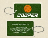 Personalized Backpack Name Tag or Luggage Name Tag - Basketball - Quick Ship -more Sports available