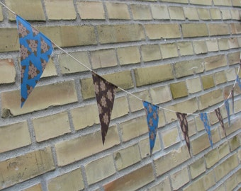 Bunting paper flag garland - floral print teal brown - birthday wedding party