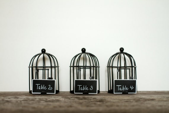 "10 Mini Birdcages 4.25"" x 2.75"" with Chalkboard Label Rustic Weddings Centerpieces Wedding Chalkboards Table Numbers Love Birds Bird Cage"