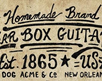 How to make Rustic homemade 3 or 4 string cigar box guitars DVD video on Retro Americana Handmaking sign Blues & Slide Folk Art