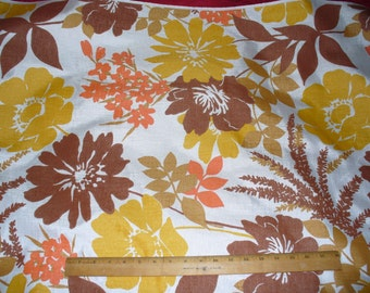 Vintage DRAPERY Pillow FABRIC, Flowered,  Orange Yellow  4 YARDS