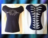 "Small, Medium and Large Womens/Junior Custom Cut Shirt Navy Blue Top ""Rhythm and Romance""Shredded Top Salsa Latin Dance"