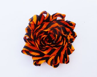 black and orange shabby chiffon hair flower clip--halloween hair bows for baby toddler girls--small 2.5 inches