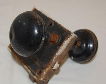 Vintage Black Metal Door Knob with Lock Plate, Shabby Door Knob and Lock Plate from The Eclectic Interior