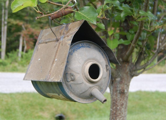 Vintage Bird House Shabby Handmade Bird House Vintage Metal