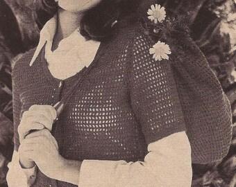 INSTANT DOWNLOAD  PDF 4 Vintage Knitting crochet  Pattern -  crocheted surplice-diamond shell-cardigan,cap and bag-crocheted flower shell