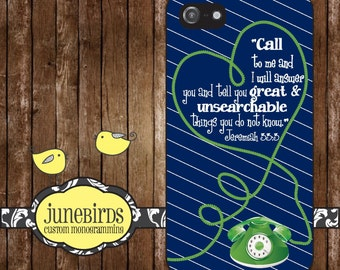 Personalized iPhone 6, iPhone 5/5s and iPhone 4/4s Cell Phone Case - Jeremiah 33:3 in Navy and Green