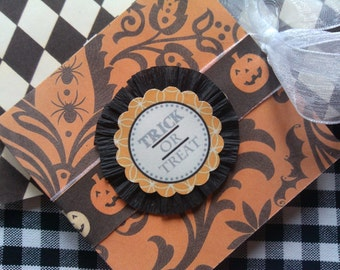 Halloween Post-it Note Gift Holder Trick or Treat Halloween Handmade