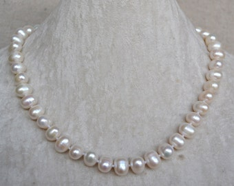 white pearl necklace - 9-10mm freshwater Pearl necklace, wedding necklace, real pearl necklace, bridesmiad necklace, mother necklace