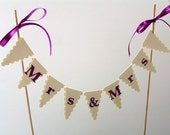 Mrs and Mrs Wedding Cake Bunting Topper - Gay Wedding, Same Sex Marriage - Cake Topper