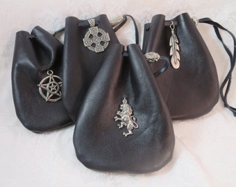 Black Leather Drawstring Pouch with Pewter Accent, Leather Dice Bag, Medieval Rune Bag, Coin Pouch, Fantasy Pagan Style Pouch, Crystal Bag