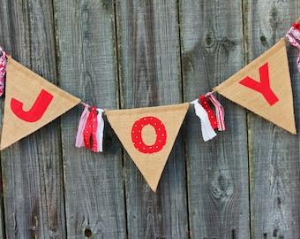 Burlap Banner, JOY Holiday Banner, Christmas Photo Prop, Holiday Decoration, Christmas Decor