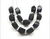 Black Silver Necklace - Double Strand Beaded Jewelry
