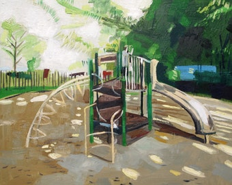 "Playground. Oil on canvas. 16"" x 20"" Kansas City, Missouri. Kid. Children. art. landscape"