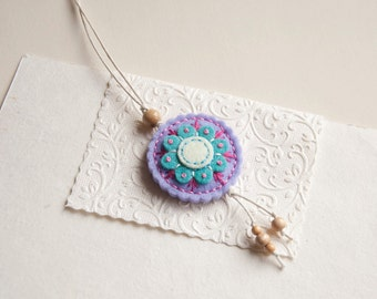 Round felt pendant necklace with flower, felt medallion necklace