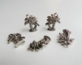10 Palm Trees beach 3D charms antique silver 18x14mm DB01356