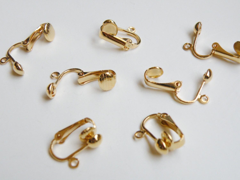 10 earring clip on earring findings half open loop gold