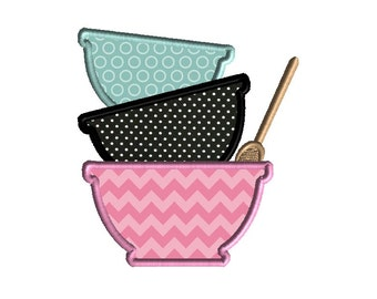 Mixing Bowls Applique Machine Embroidery Design-INSTANT DOWNLOAD
